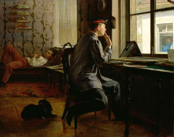 Preparing for Examinations, 1864 (oil on canvas)