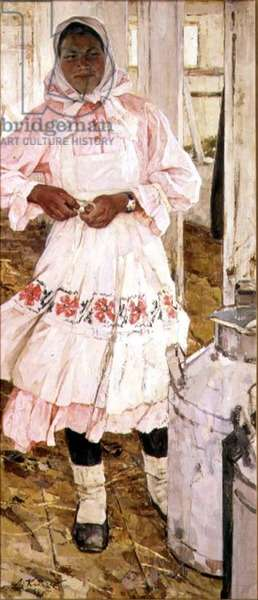 Portrait of the Milkmaid Kuznetsova, from the series 'People of the Collective Farms', 1959 (oil on canvas)