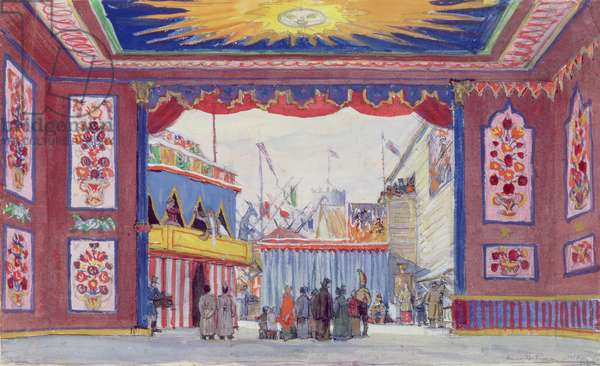 Stage design for the set of the ballet 'Petrushka' by Igor Stravinsky, 1917 (w/c & gouache on paper)