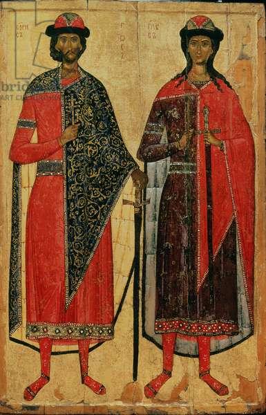 St. Boris and St. Gleb, Russian icon, Moscow School, 14th century (tempera on panel)