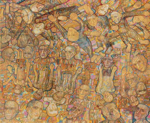 Crowd Composition (oil on paper)
