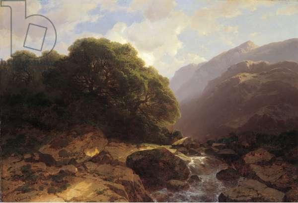 Torrent de montagne (oil on canvas)