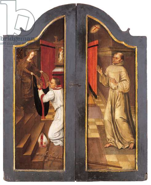 St. Norbert receiving a cope from the Virgin, 1550 (oil on panel)