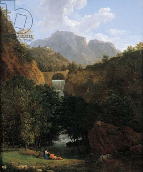 Mountainous landscape with a bridge in the centre (oil on canvas)