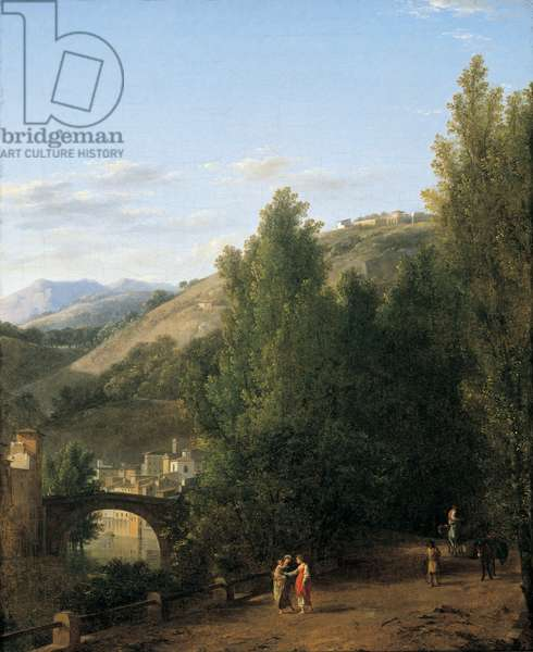 Mountainous landscape with a bridge on the left (oil on canvas)