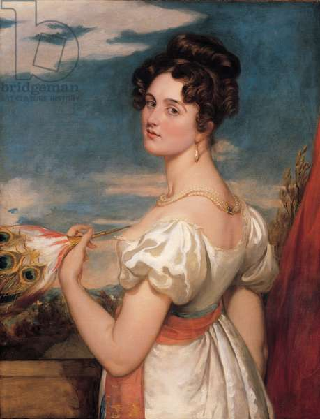 Portrait of a lady in a white satin dress, 1828 (oil on canvas)