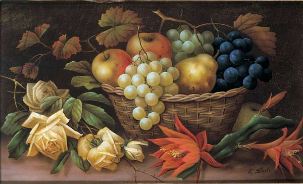 Still life with apples, grapes, pear, roses and cactus flowers (oil on canvas)