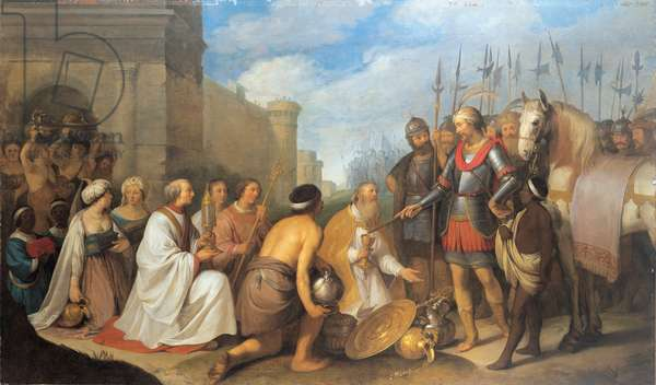 The meeting of Pope Leo the Great and Attila the Hun, 1643 (oil on canvas)