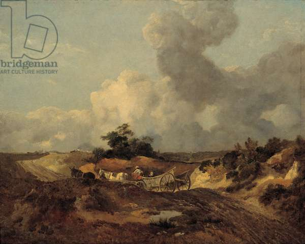Open landscape in Suffolk with a wagon on a track (oil on canvas)