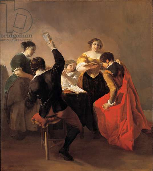 Musical company at a table, 1650-59 (oil on canvas )