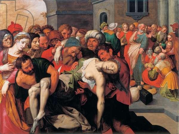 The death of Sapphira, 1590 (oil on panel)
