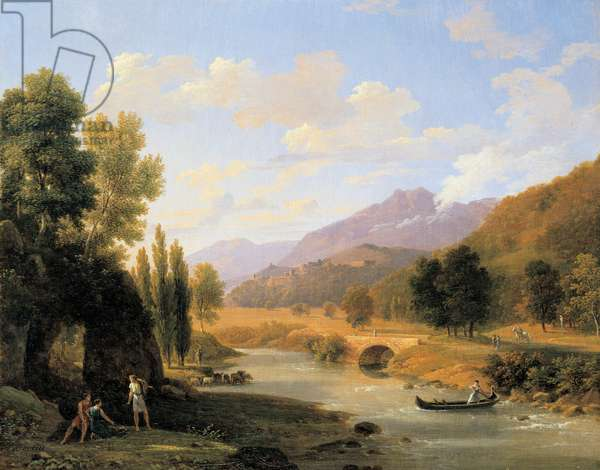 Classical landscape with a river (oil on canvas)