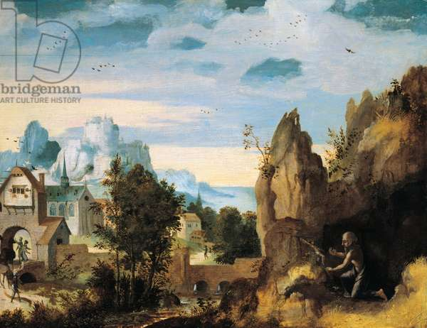 Landscape with the penitent St. Jerome, 1540 (oil on panel)