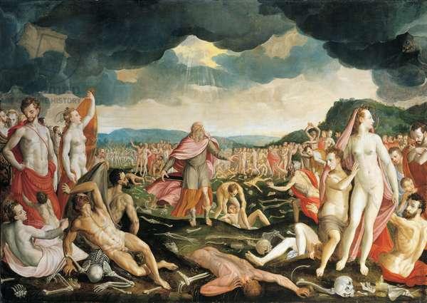 Ezekiel and the dry bones, 1570 (oil on panel)