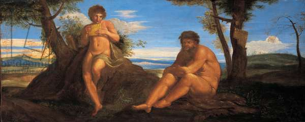 Bacchus and Silenus (oil on canvas)