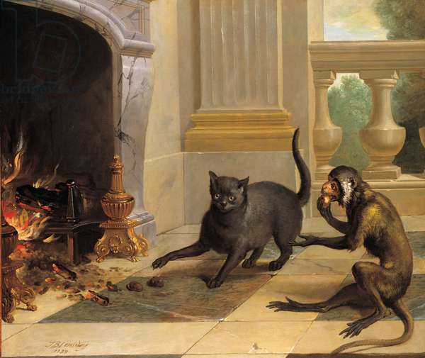 The cat and the monkey (from La Fontaine), 1739 (oil on canvas)