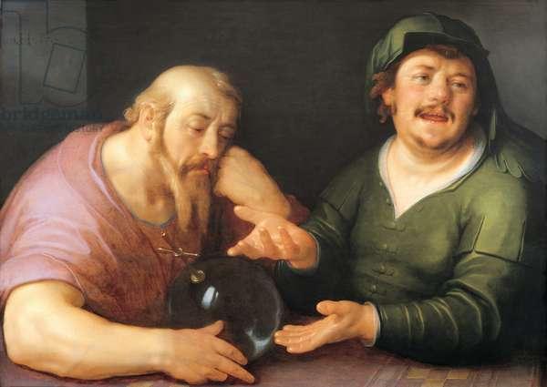 Democritus and Heraclitus, 1617 (oil on panel)