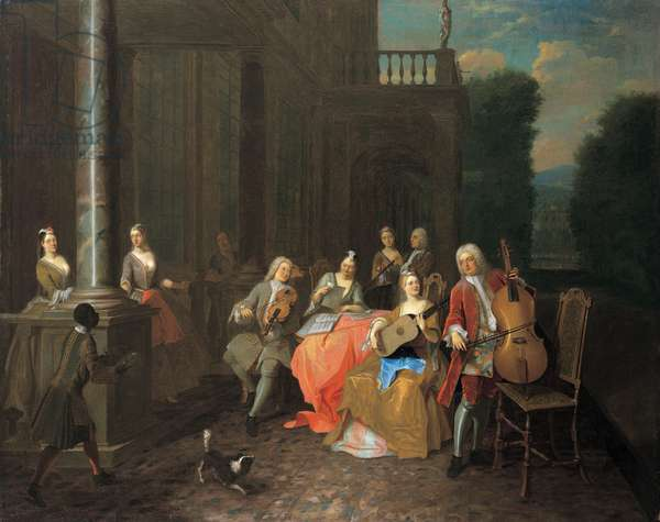 A musical party on a terrace, 1730 (oil on canvas)
