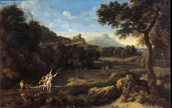Wooded landscape with Apollo and Daphne, 1650 (oil on canvas)