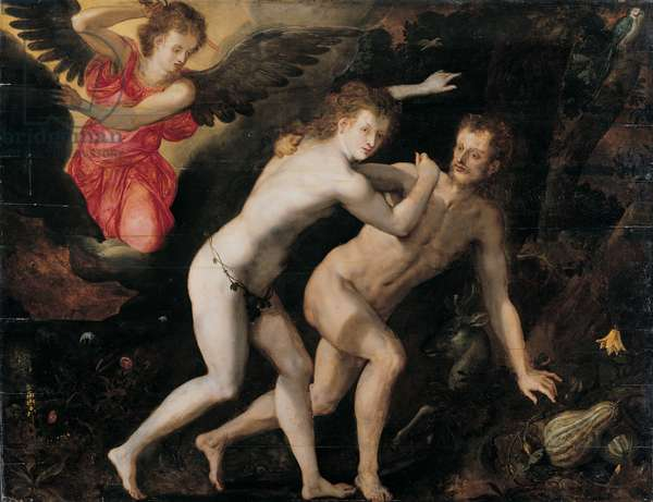 The expulsion of Adam and Eve from Paradise (oil on panel)