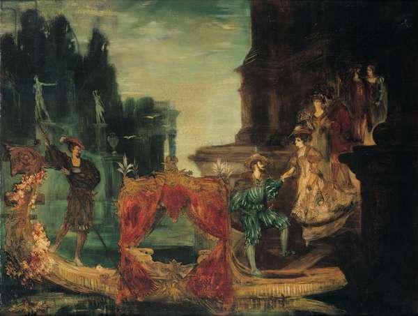 Aufbruch zur Gondelfahrt (oil on canvas)