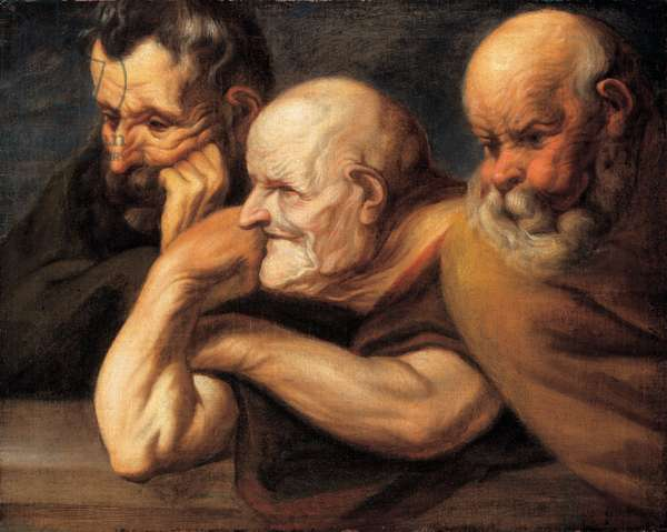 Study of the heads of three old men, 1650 (oil on canvas)
