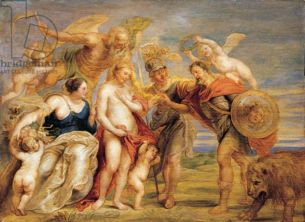 Minerva uniting Mars and Venus (War and Peace) (Verso: A donor kneeling before a Saint and studies of four roses, and two Angels supporting), 1640 (oil on panel)