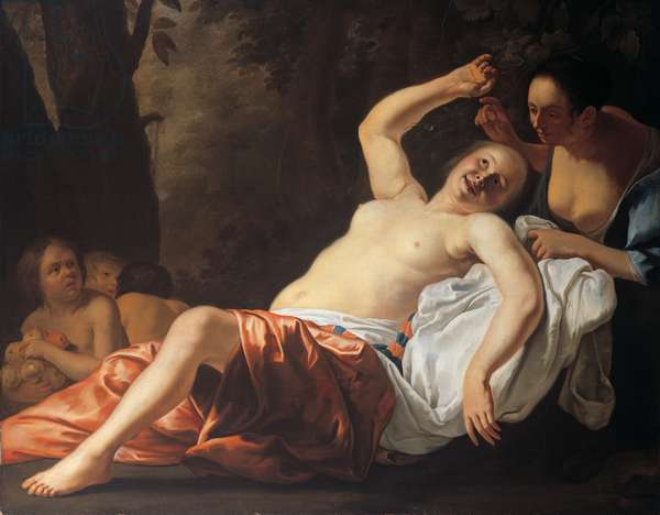 A reclining nymph with her attendant, 1651 (oil on canvas)