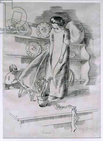Month of March: Dressmaking, 1926 (pen & ink on paper)
