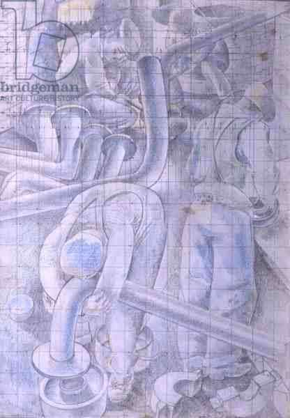 Plumbers, 1940 (pencil and coloured chalk on paper)