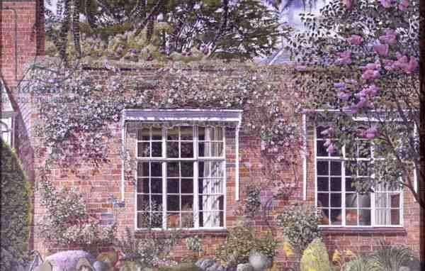 Lilac and Clematis at Englefield, 1954 (oil on canvas)
