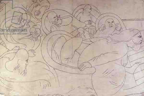 Study for Cookham Regatta: The Elders, 1953 (pencil on paper)