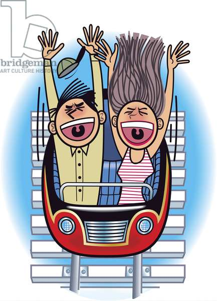 Couple in a rollercoaster at amusement park