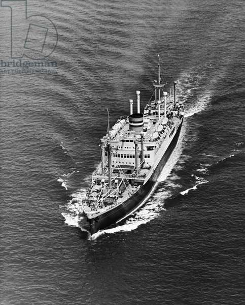 High angle view of a cruise ship in the sea