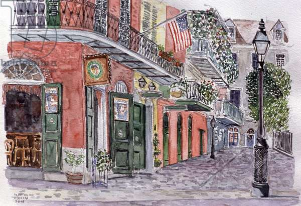 Pirates Alley Cafe, New Orleans, Anthony Butera, (b.20th C.), Watercolor