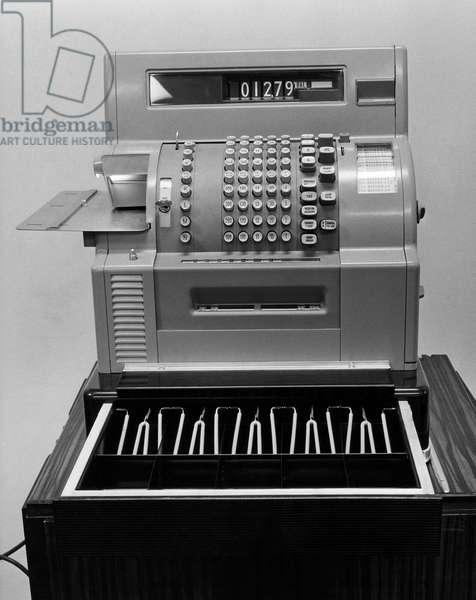 Close-up of an empty cash register