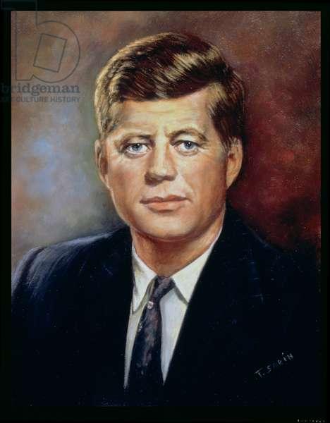 Portrait of John Fitzgerald Kennedy (1917-63) 35th President of America (oil on board)