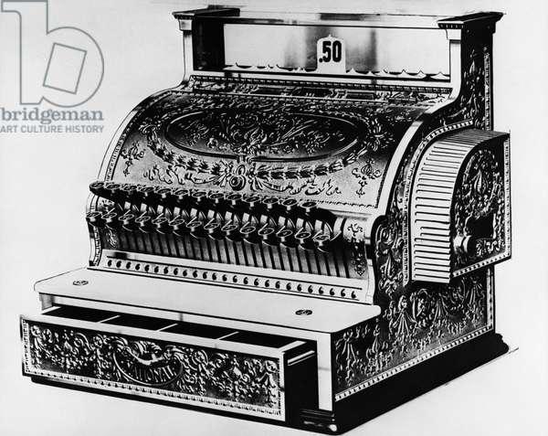 Close-up of an antique cash register