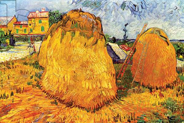 Haystacks in Provence, 1888 (oil on canvas)