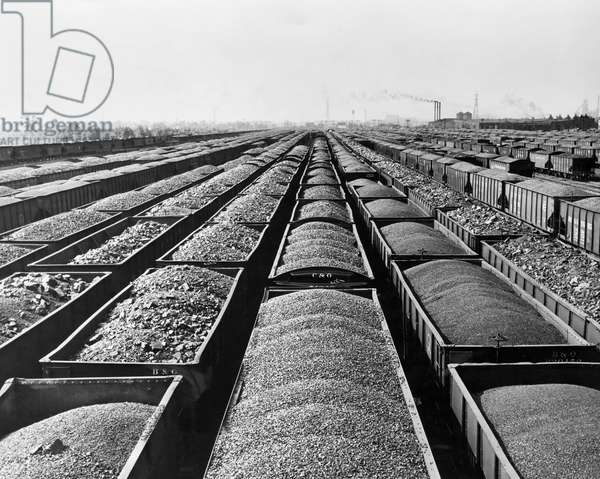 High angle view of coal in railroad cars