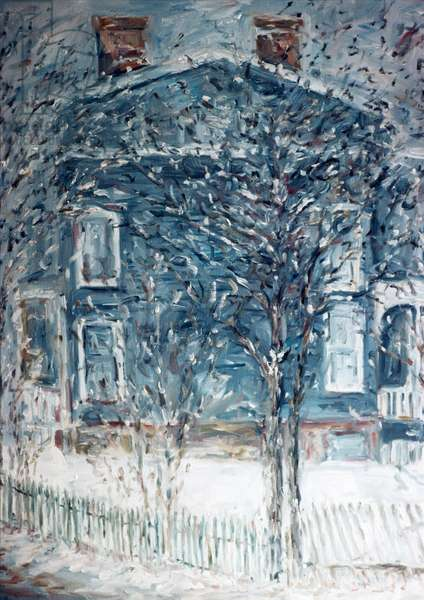 Snow in Smith Street, Anthony Butera, (b.20th C.), Oil