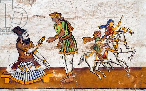 Murals- Epic Ramayana-Wall Paintings in Ramasamy Temple at Kumbakonam, Tamil Nadu, India- Palm Leaf Information given to messenger to give it to Bharatha Artist Unknown