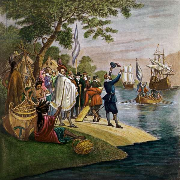 Landing at Jamestown, 1607 (colour litho)