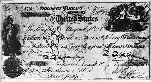 Cancelled check for the purchase of Alaska from Russia, Issued August 1, 1868