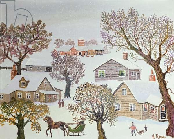 Snow Flurries (oil on canvas)