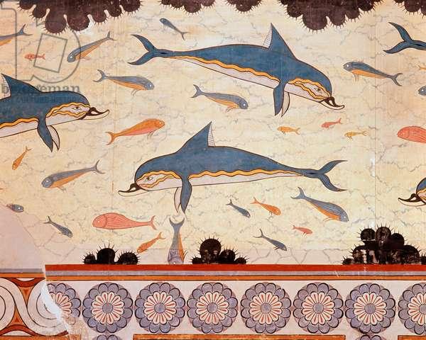 Dolphin Fresco Greek Art Archeological Museum, Athens, Greece