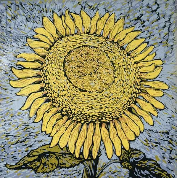 Sunflower (colour woodcut)