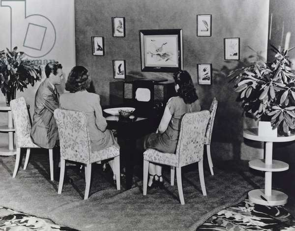 Family Watching Television on RCA's First Commercially Produced Black-and-White Television Set (Model 630TS) - Ca. 1946