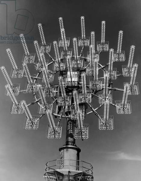 Low angle view of a communications tower