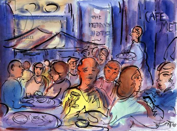 Cafe Society, Watercolor painting by Richard H. Fox